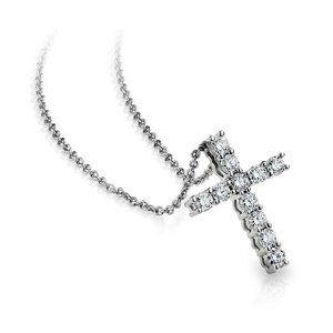 3.85Ct round brilliant cut diamonds CROSS pendant